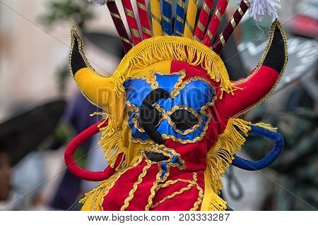 June 29 2017 Cotacachi Ecuador: indigenous quechua man wearing a traditional mask at Inti Raymi summer solstice celebration