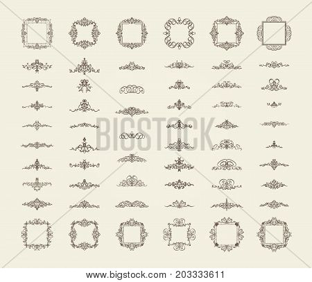 A huge rosette wicker border collection in vector. Yellow vintage text, certificate and page decoration in advertising. Business flourish signs and classic logo. Motifs frames and ornate elements.