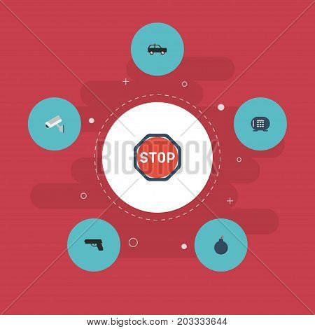 Flat Icons Camera, Road Sign, Explosive And Other Vector Elements