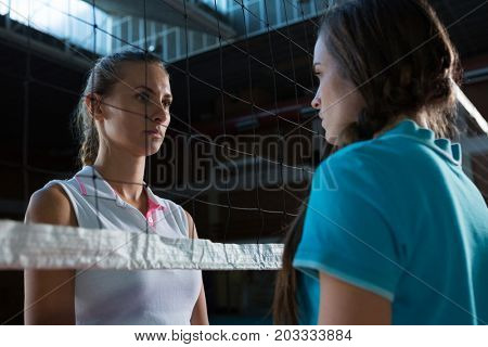 Aggressive female volleyball players looking each other through net