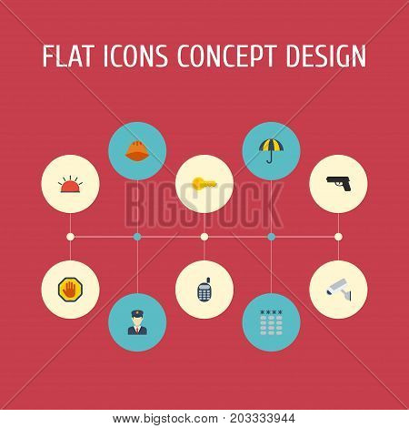 Flat Icons Policeman, Keypad, Walkie-Talkie And Other Vector Elements