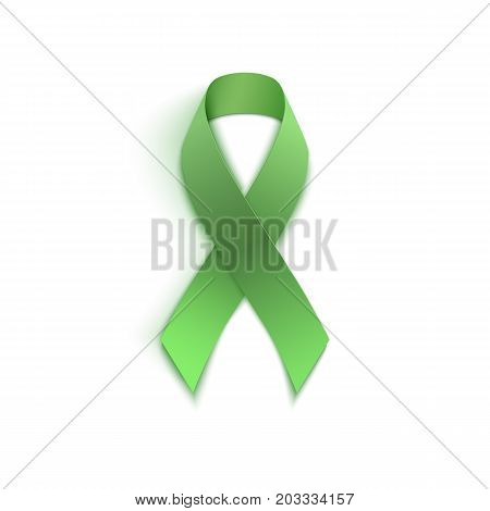 Green ribbon. Different diseases and awareness symbol. Vector illustration.