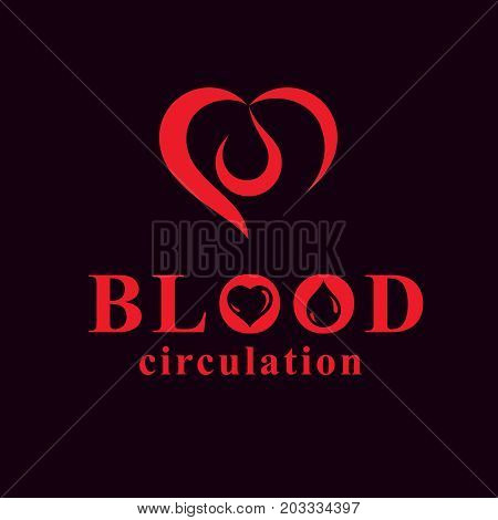 Vector red heart with blood circulation inscription. Blood transfusion metaphor medical care emblem for use in pharmacy.