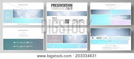 The minimalistic abstract vector illustration of editable layout of high definition presentation slides design business templates. Polygonal texture. Global connections, futuristic geometric concept