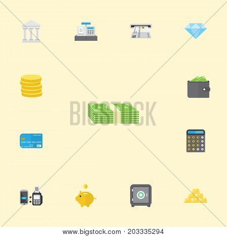 Flat Icons Accounting, Cash Stack, Till And Other Vector Elements