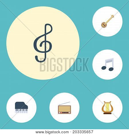 Flat Icons Quaver, Octave Keyboard, Banjo And Other Vector Elements