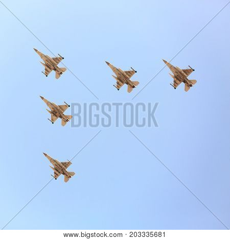 Beer-sheba, Israel - May, 02, 2017: Five F16