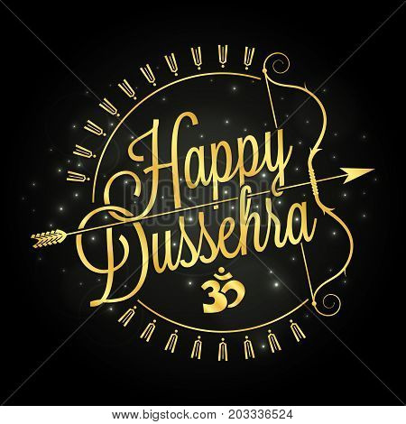Happy Dussehra Golden Lettering With Bow And Arrow