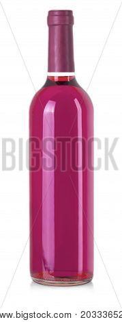 bottle of pink wine on white background