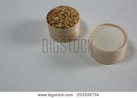Close-up of oatmeals and semolina in bowl