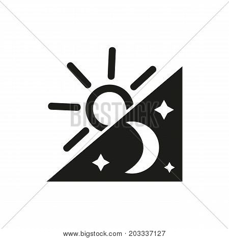 Icon of non stop working. Shining sun, moon, stars. Overworked concept. Can be used for topics like endless work, routine, deadline, time of day