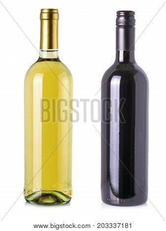 Wine bottles isolated on white background .