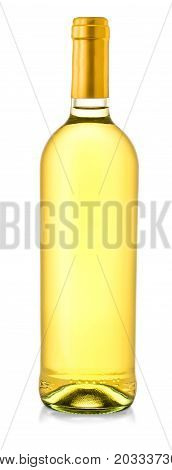 Bottle of white wine on isolated white background. Clipping Path