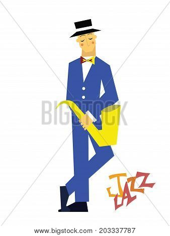The man with the saxophone, jazz. Vector illustration, isolated on white background.