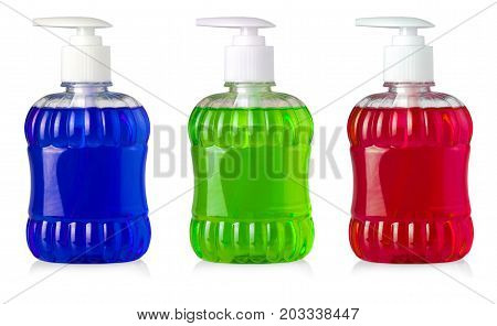 Set of bottles with liquid soap and dispenser isolated on white background