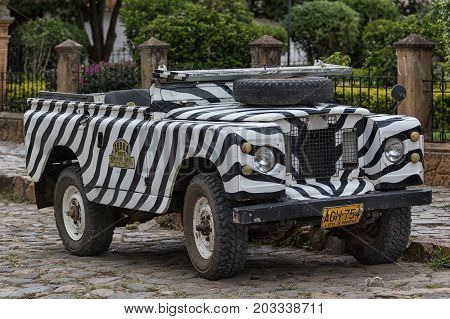July 20 2017 Villa de Leyva Colombia: vintage all terrain vehicles are used by tour companies to carry tourists around