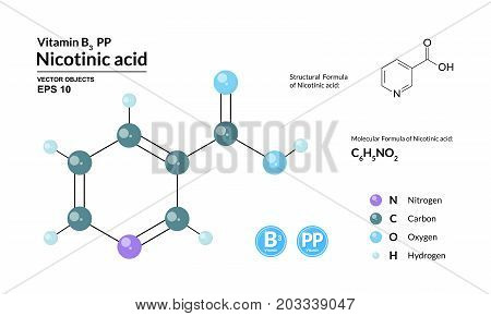 Structural chemical molecular formula and model of nicotinic acid. Atoms are represented as spheres with color coding isolated on background. 2d or 3d visualization and skeletal formula. Vector