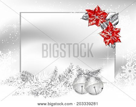Blank label with two silver jingle bells