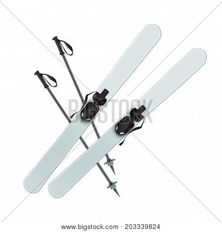 Vector light blue skis and black sticks top view isolated on white background