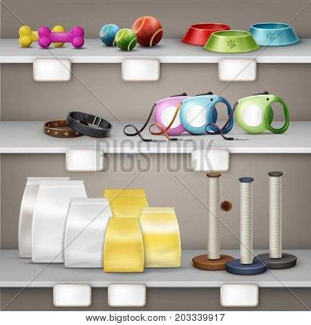 Vector illustration of pet shop. Pets accessories and food on shelf isolated on background