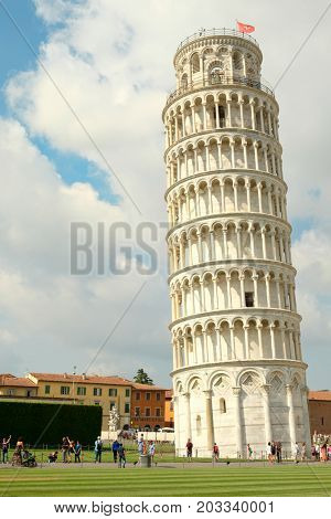 PISA,ITALY - JULY 23, 2017 : The leaning tower of Pisa, a symbol of Italy