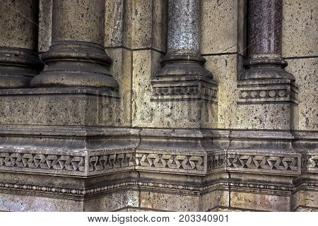 Detail of the architecture of Sacre Coeur Basilica in Paris France