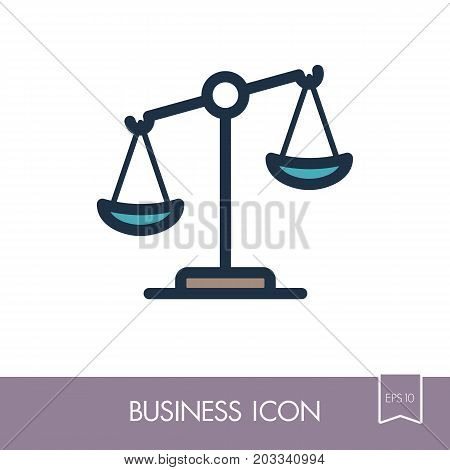 Law scale vector icon justice outline icon. Graph symbol for your web site design logo app UI. Vector illustration EPS10.