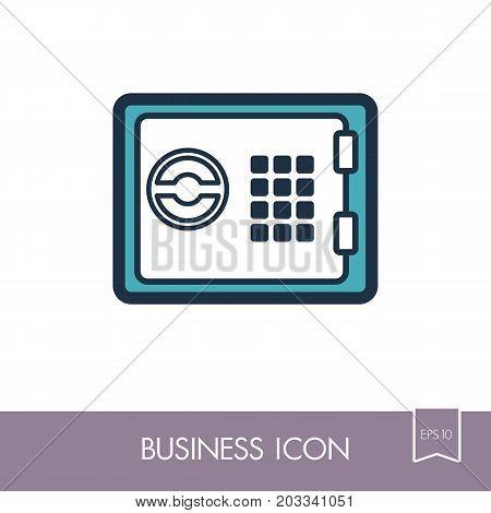 Bank safe outline icon. Finances sign. Graph symbol for your web site design logo app UI. Vector illustration EPS10.
