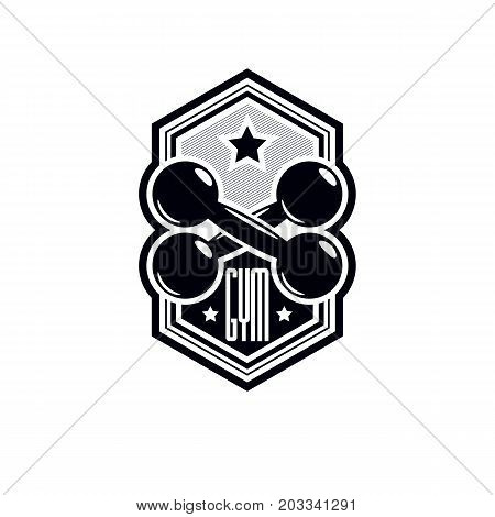 Logotype for heavyweight gym or fitness sport gymnasium vintage style vector emblem.
