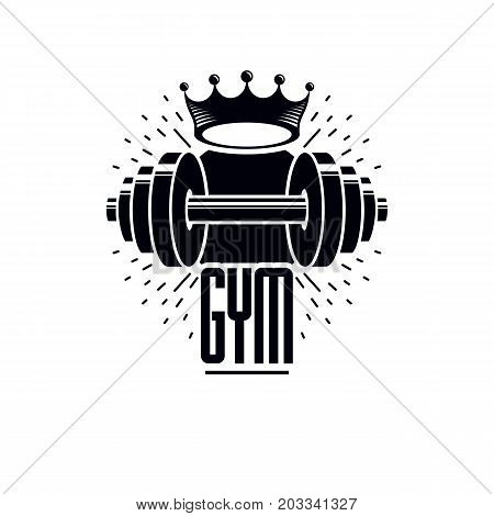 Gym and fitness logo template retro style vector emblem. With barbell.