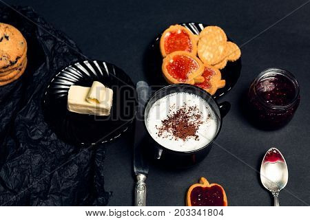 Cup Of Coffee, Cappuccino With Chocolate Cookies And Biscuits On Black Table Background. Afternoon B