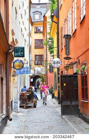 Stockholm, Sweden - July 25, 2017: Narrow side street in Gamla Stan in Stockholm