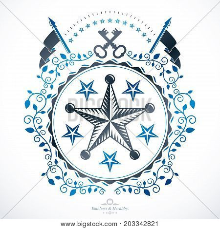 Heraldic design vector vintage emblem created using pentagonal stars