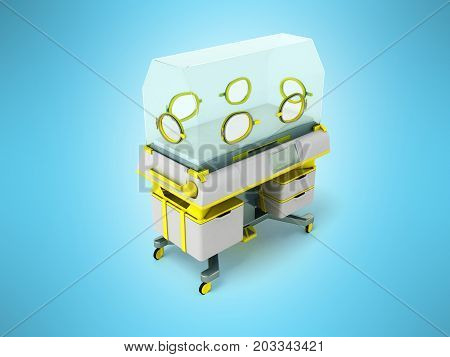 Incubator For Premature Babies Yellow 3D Render On Blue Background