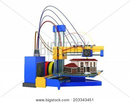 3D Printer Printing House On White Background No Shadow