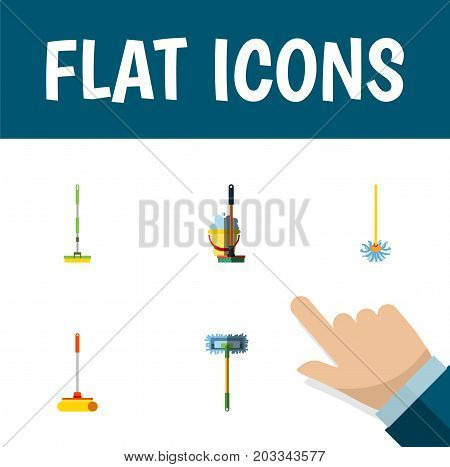 Flat Icon Mop Set Of Besom, Equipment, Cleaner And Other Vector Objects