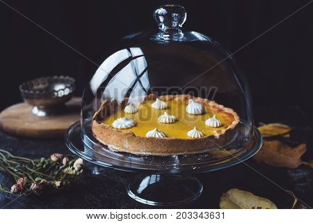 Pumpkin Pie In Glass Cake Stand
