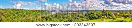 Panoramic view Argentina Iguazu falls from hotel.