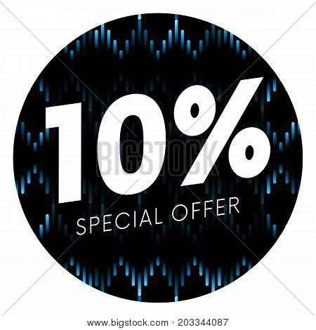 Special offer ten percent text banner or sticker on musical dark background. Vector illustration.