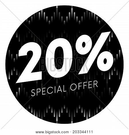 Special offer twenty percent text banner or sticker on musical dark background. Vector illustration.