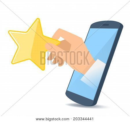 A human hand from the mobile phone's screen holds a yellow star. Modern technology, smart phone apps, liking, voting and ranking flat concept illustration. Vector design element isolated on white.