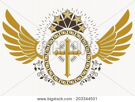 Heraldic sign made using vector vintage elements bird wings Christian religious cross and pentagonal stars.