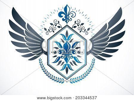 Luxury heraldic vector emblem template. Winged vector blazon decorated using lily flower pentagonal stars and laurel wreath