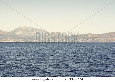 sea and mountain landscape. View from sailboat