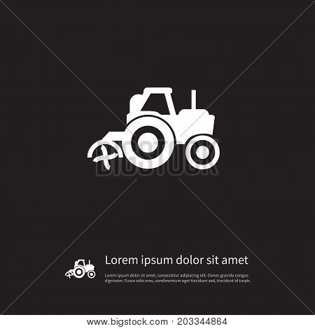 Combine-Harvester Vector Element Can Be Used For Husbandry, Agriculture, Transport Design Concept.  Isolated Agriculture Transport Icon.