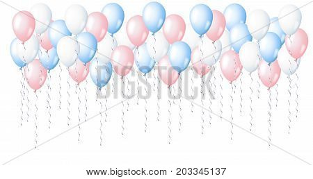 Blue, pink and white helium balloons. Baby-shower background illustration.