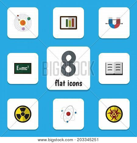 Flat Icon Knowledge Set Of Attractive Force, Theory Of Relativity, Orbit And Other Vector Objects