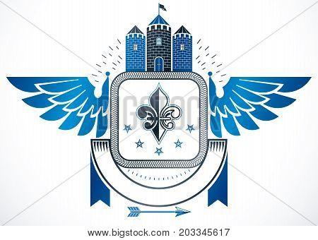 Vintage award design vintage heraldic Coat of Arms. Vector emblem composed using medieval castle lily flower and pentagonal stars.