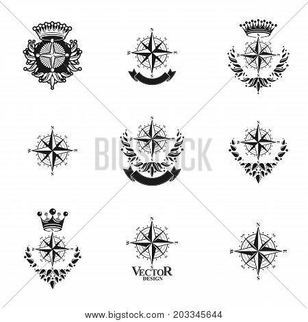 Compasses emblems set. Heraldic vector design elements collection. Retro style label heraldry logo.