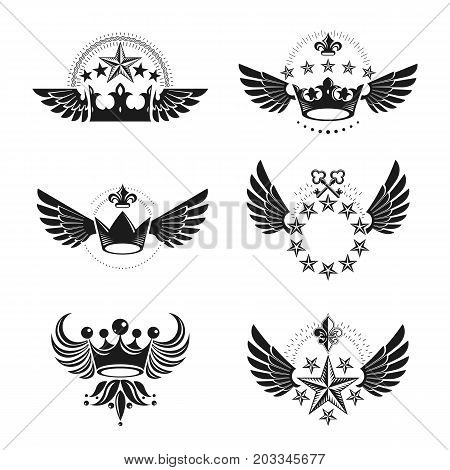Royal Crowns and Vintage Stars emblems set. Heraldic vector design elements collection. Retro style label heraldry logo.